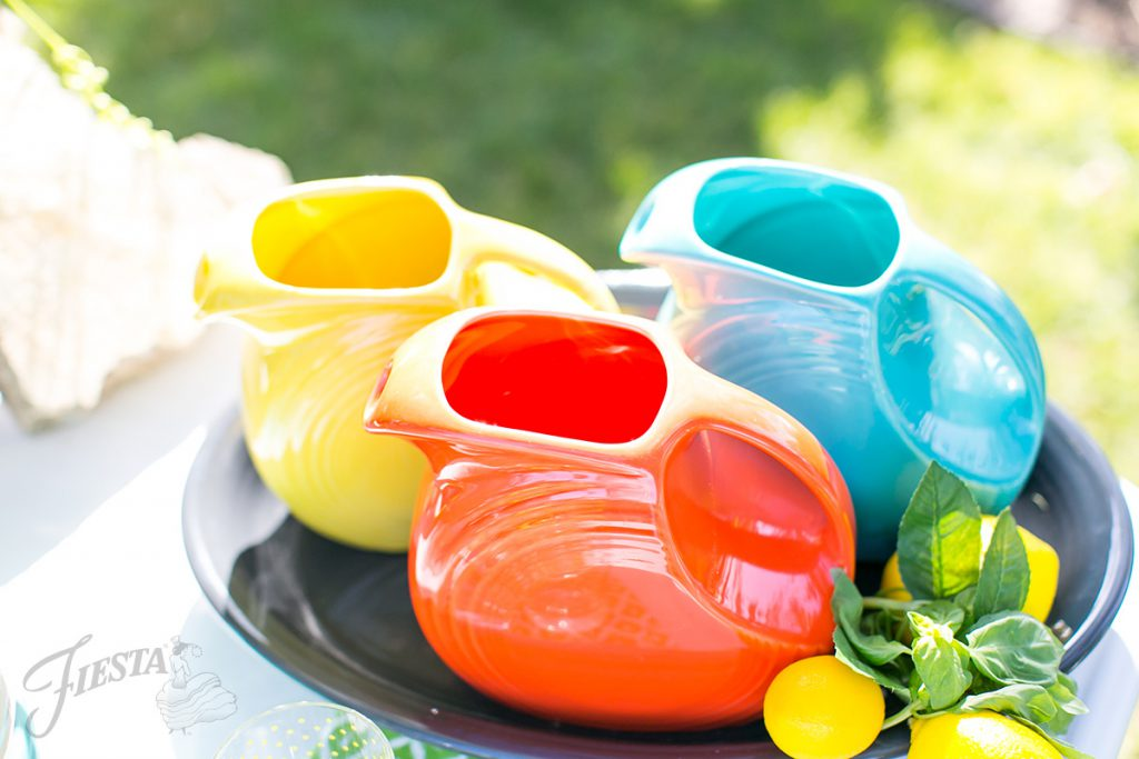 Fiesta Dinnerware Large Disc Pitchers: Sunflower, Turquoise and Poppy. Perfect for your next summer party!