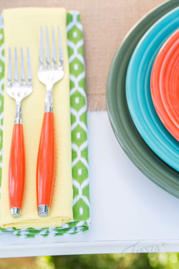 Fiesta Dinnerware wedding tabletop. Poppy Flatware, Fiesta Sunflower Napkin, and Sage, Turquoise and Poppy plates.