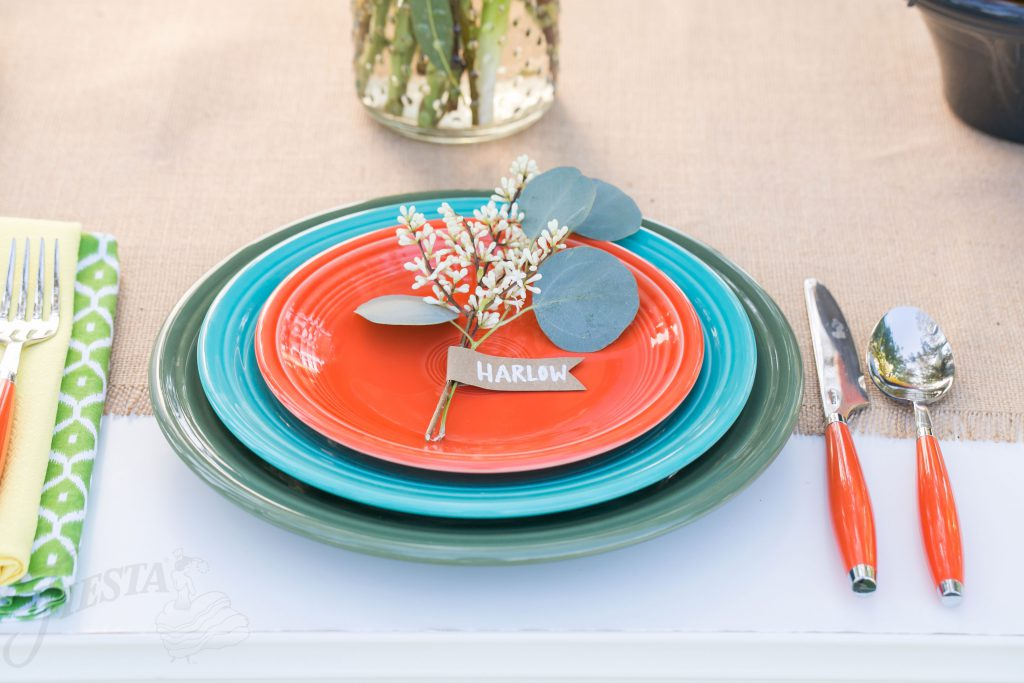 A wedding tablesetting that makes a statement. Fiesta Dinnerware in Sage, Turquoise and Poppy.