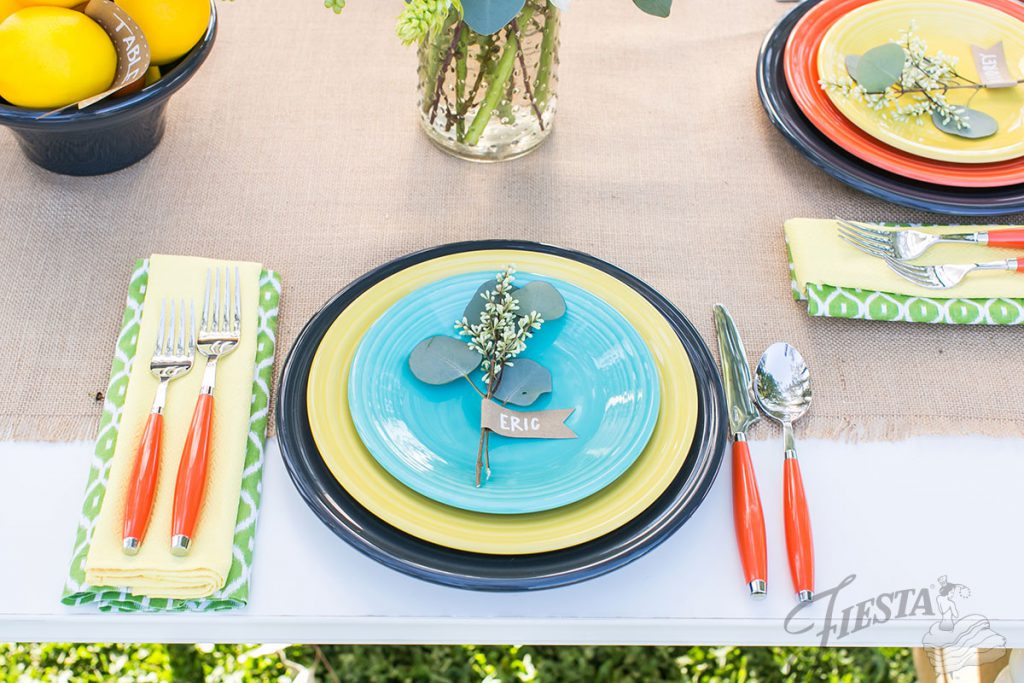 So pretty and cheerful! Wedding tablescape in Fiesta Dinnerware colors: Slate, Sunflower, Turquoise, and Poppy.