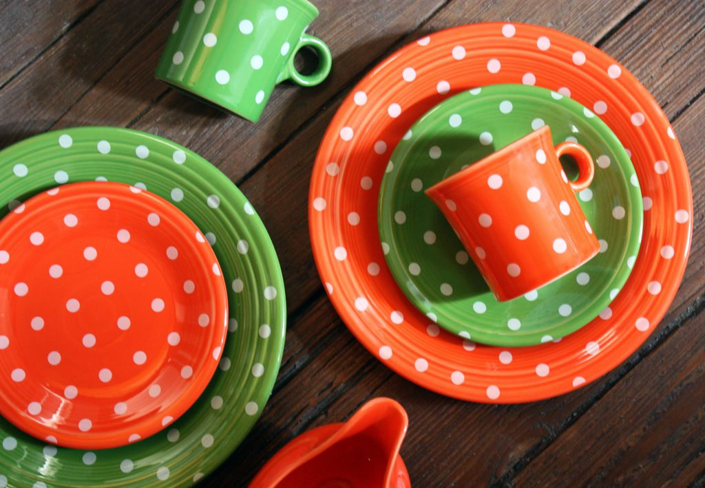 Exclusive Shamrock and Poppy polka dot plates. Photo courtesy of David Schaefer.