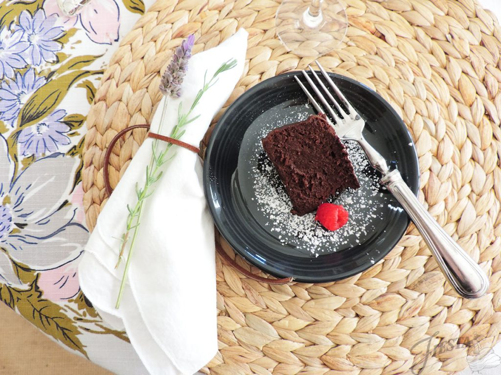 Flourless Chocolate Cake served on a Fiesta Slate Saucer.