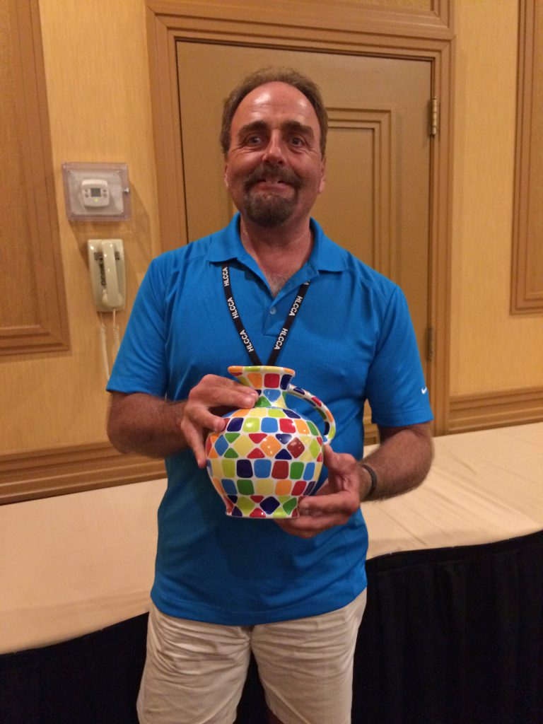 Wally Haugen with his one of a kind Carafe, priced at $3,000.