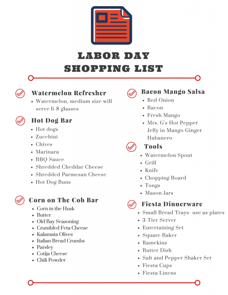 Labor Day Shopping List