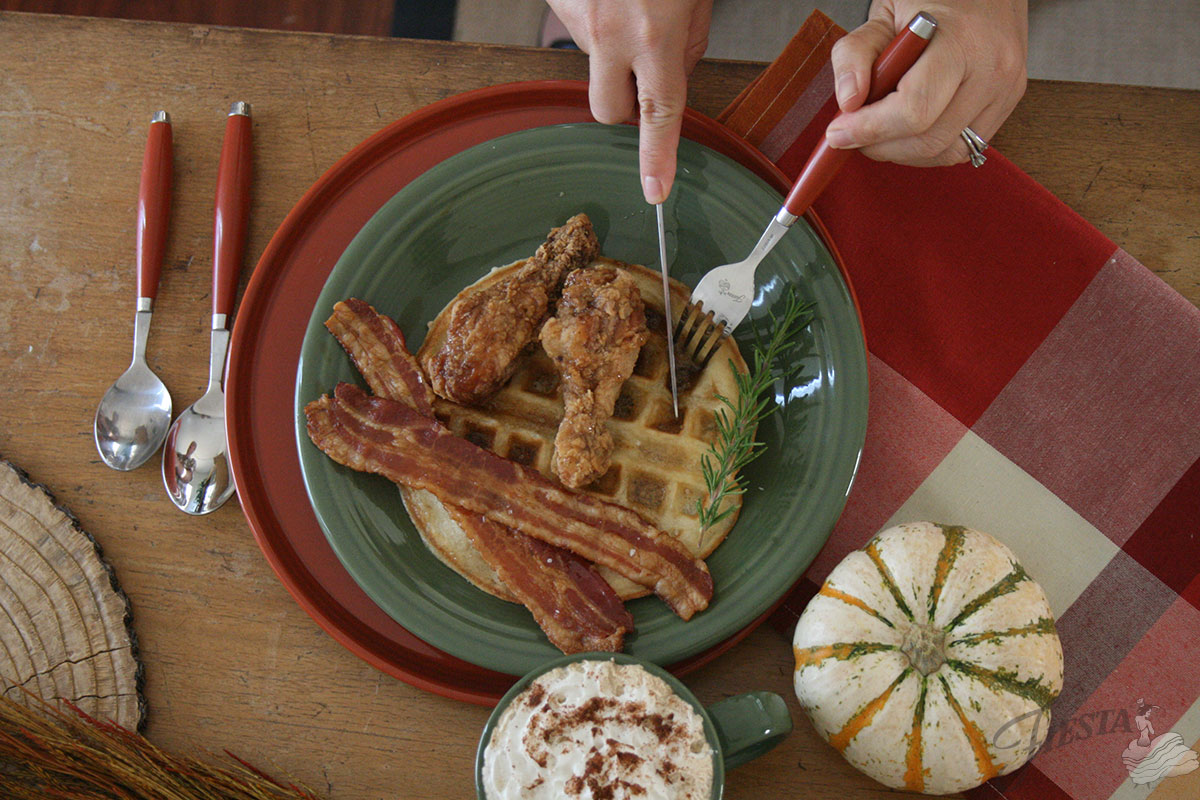 Banana Waffles With Candied Bacon Recipe — Dishmaps