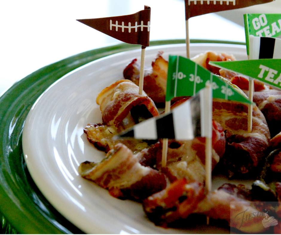 Get game day ready with delicious appetizers and simple festive decor ideas from Fiesta Dinnerware. Maple Bacon Jalepeno Popper Recipe on the blog at www.alwaysfestive.com