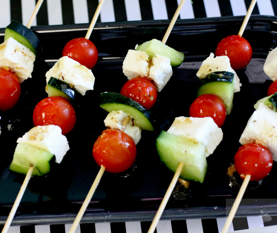 Get game day ready with delicious appetizers and simple festive decor ideas from Fiesta Dinnerware. Greek Salad Skewers on the blog at www.alwaysfestive.com