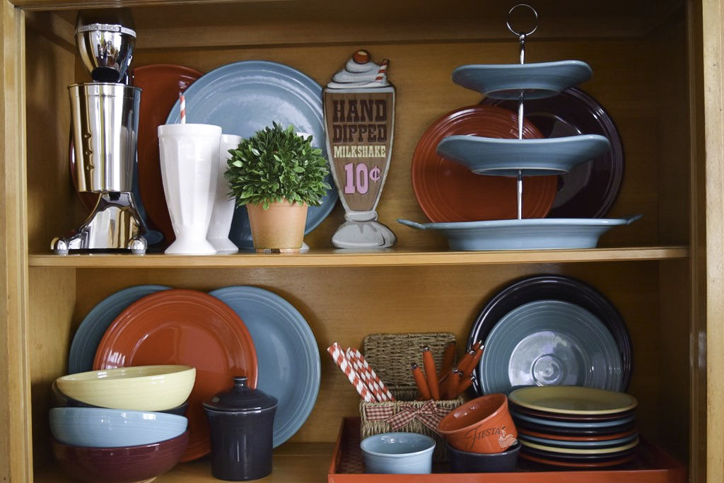 Fiesta Dinnerware Spring Shelf Decor Ideas