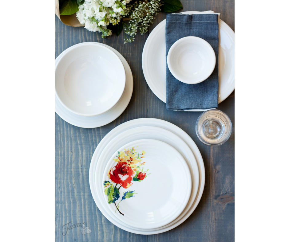 Fiesta Dinnerware new Floral Bouquet design, available at retailers and www.fiestafactorydirect.com March 2017.