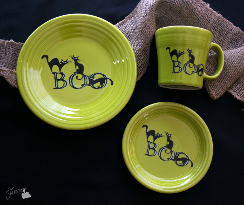 Fiesta Dinnerware introduces new Trio of Boo Cats design to Halloween collection. Available June 2017. | www.alwaysfestive.com