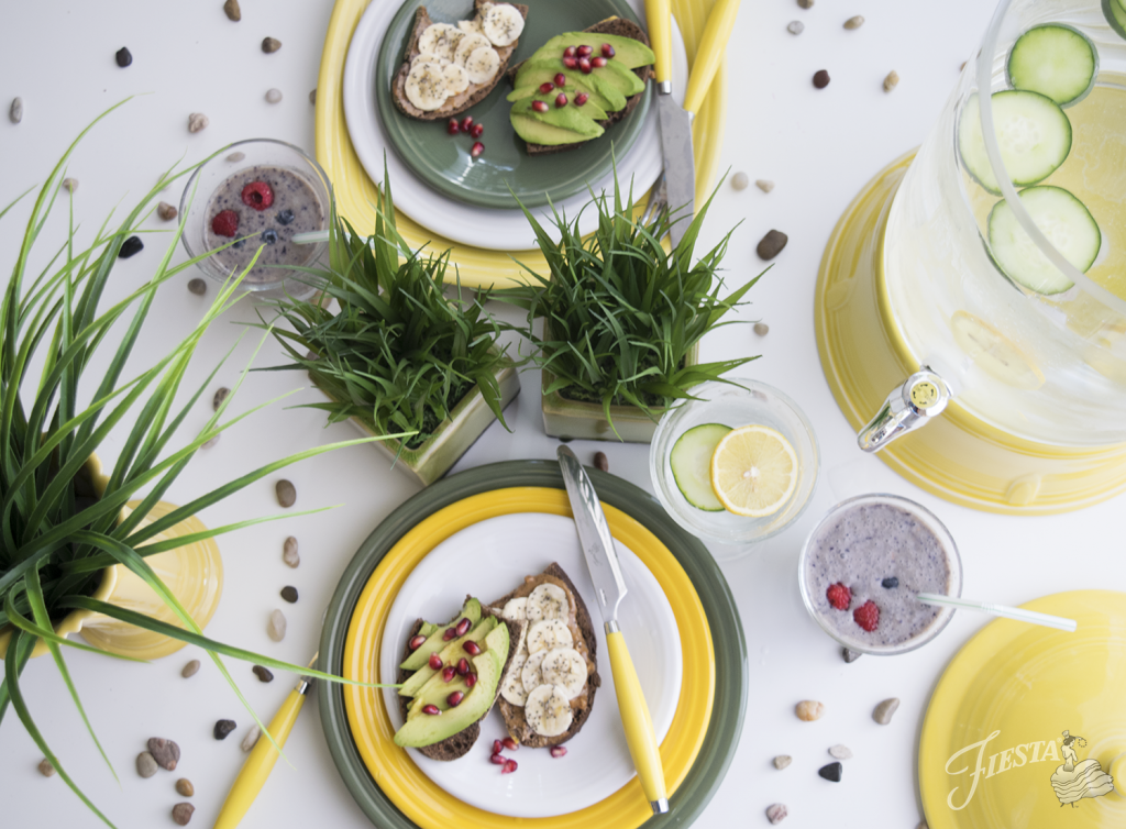 Fiesta Dinnerware's new 2017 color is DAFFODIL, featured in the Field of Flowers color palette - Daffodil, White, Sage, Sunflower