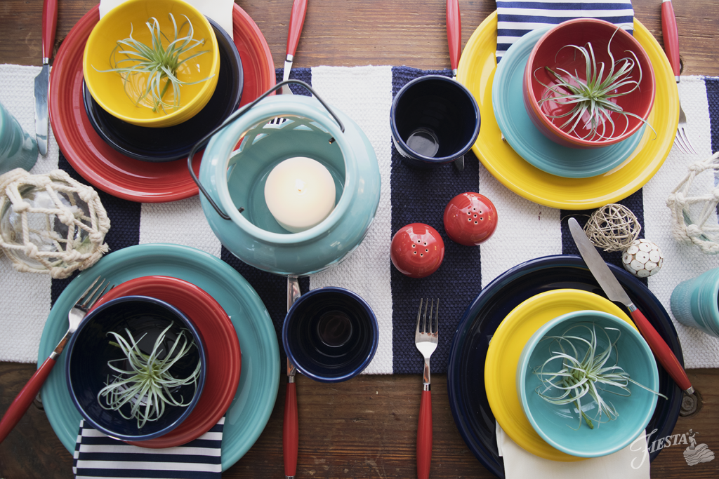 Fiesta Dinnerware announces the new 2017 color, DAFFODIL, featured in the Nautical color palette - Daffodil, Turquoise, Scarlet, Cobalt, Ivory | www.alwaysfestive.com